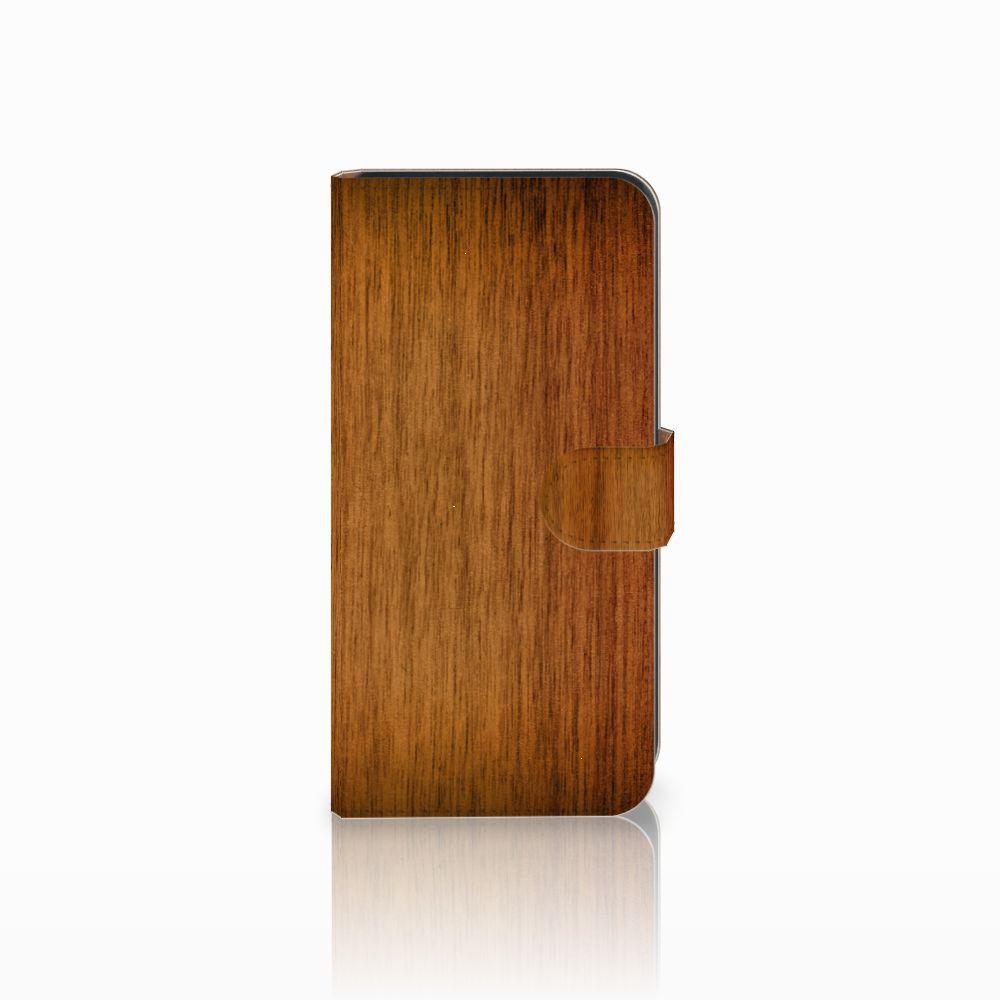 Samsung Galaxy E7 Uniek Boekhoesje Donker Hout