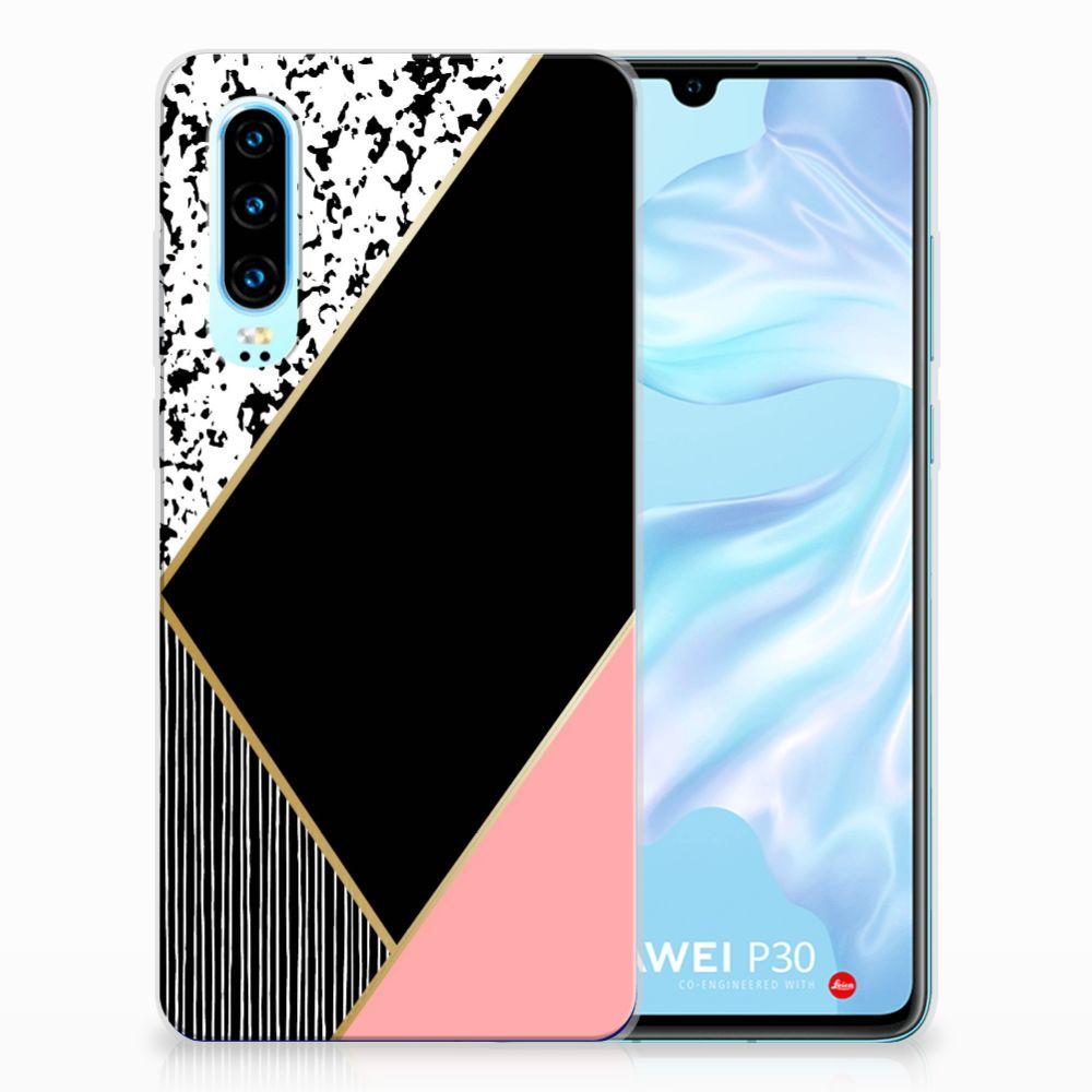 Huawei P30 TPU Hoesje Zwart Roze Vormen
