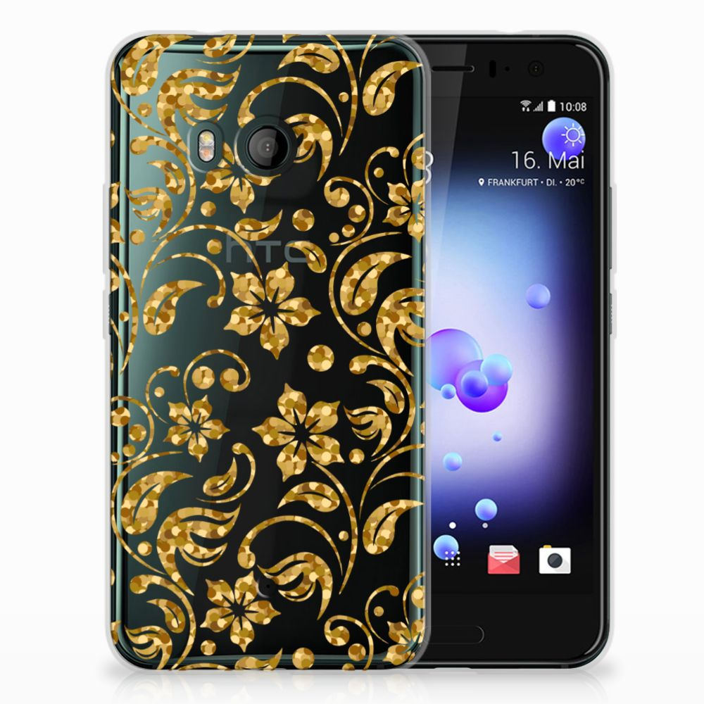HTC U11 TPU Hoesje Design Gouden Bloemen