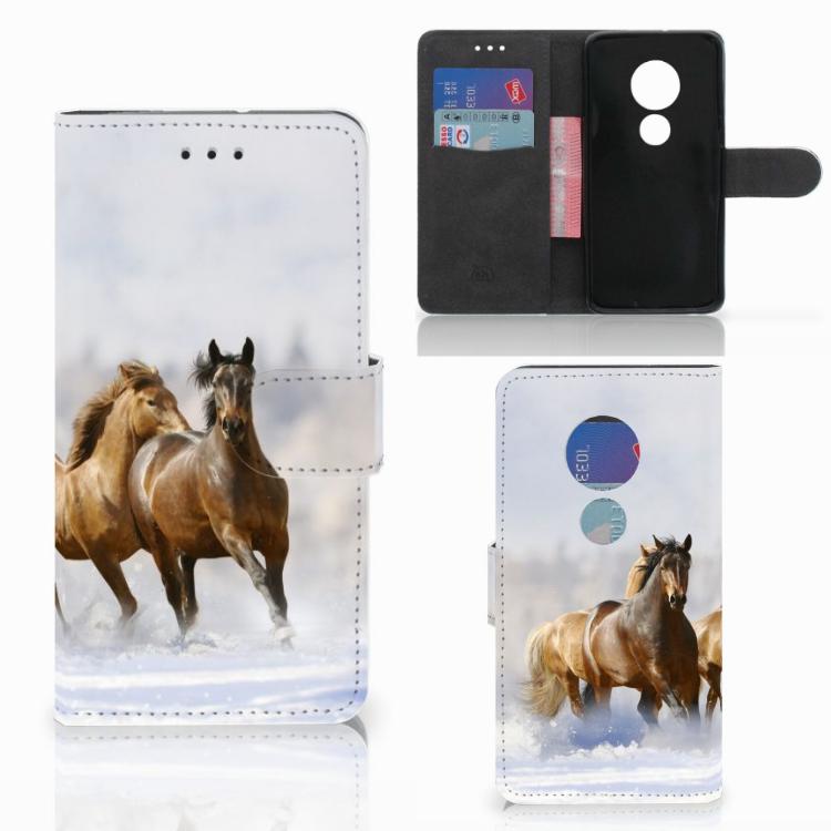 Motorola Moto G7 Play Telefoonhoesje met Pasjes Paarden