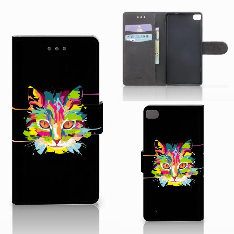 Huawei P8 Leuke Hoesje Cat Color