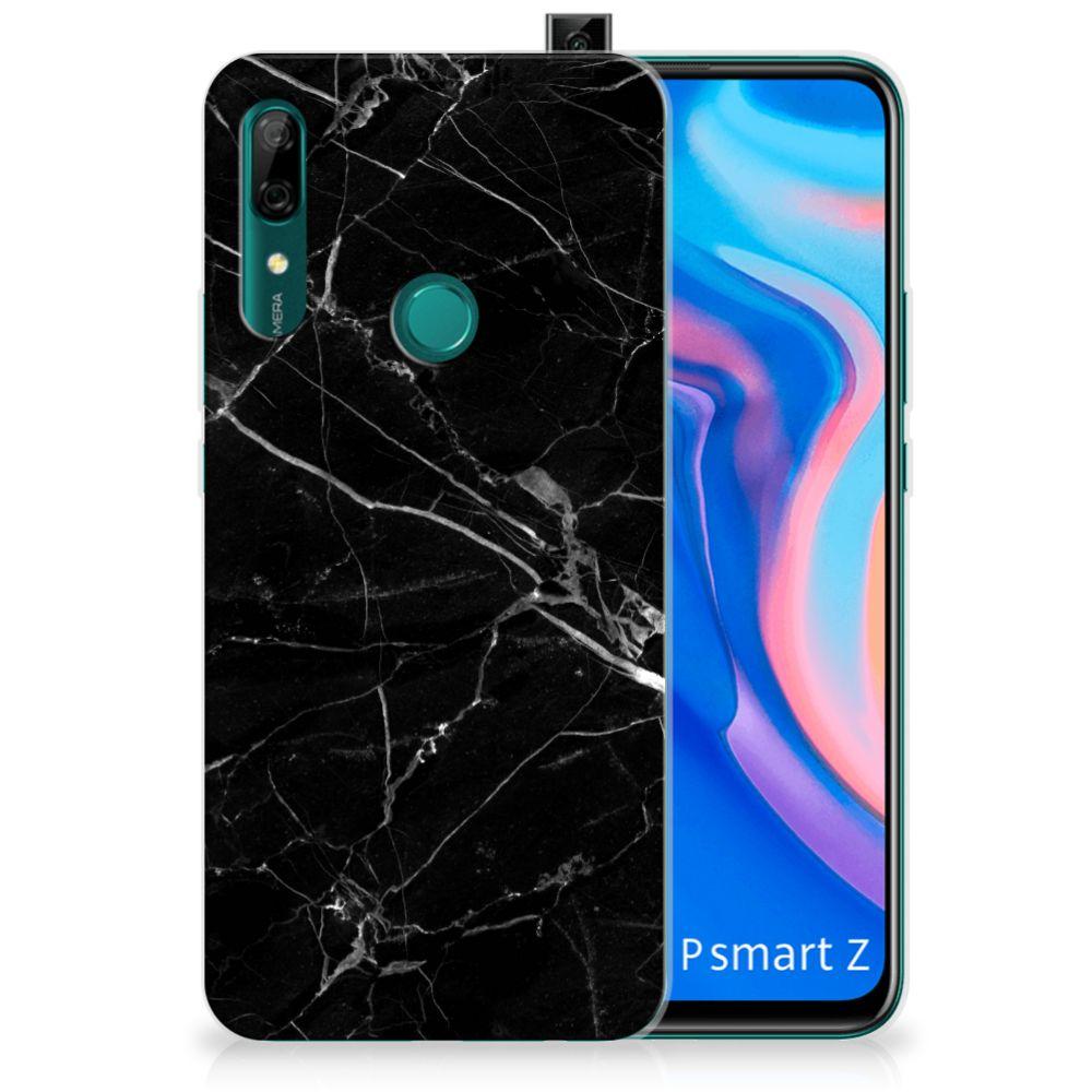 Huawei P Smart Z TPU Siliconen Hoesje Marmer Zwart
