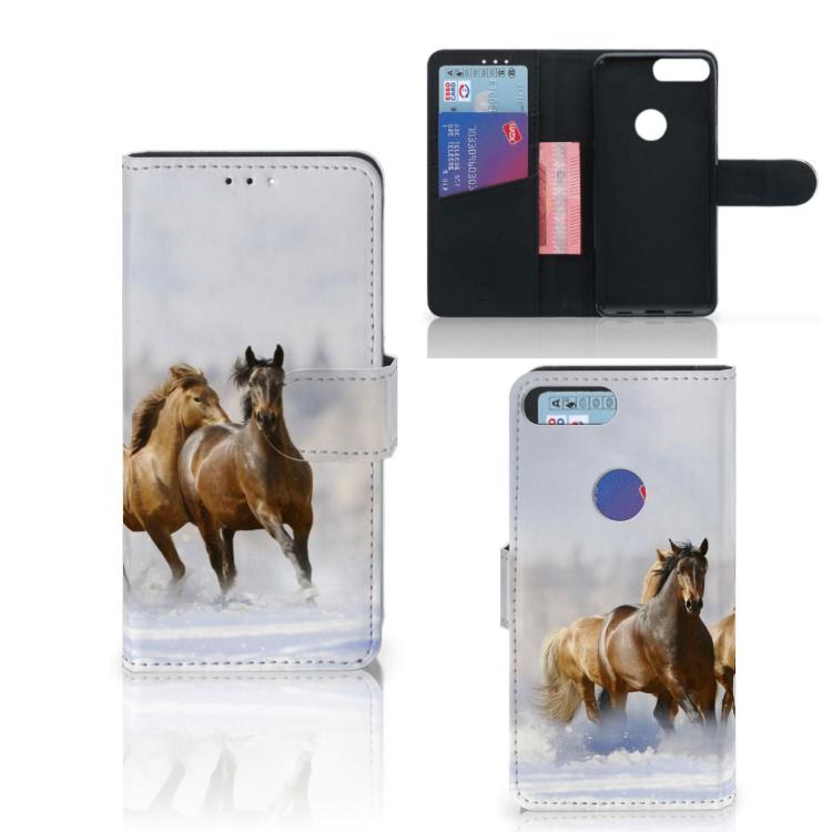 Alcatel 1S (2019) Telefoonhoesje met Pasjes Paarden
