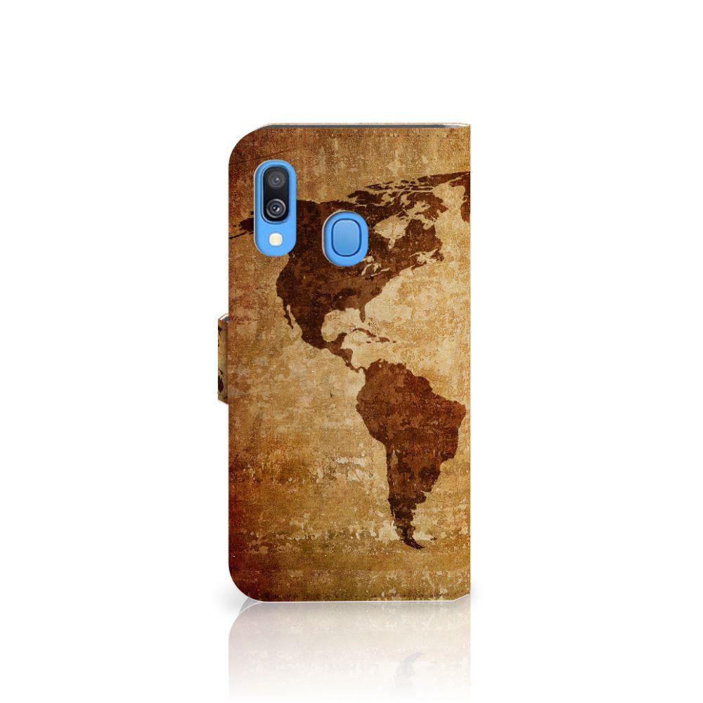 Samsung Galaxy A40 Flip Cover Wereldkaart