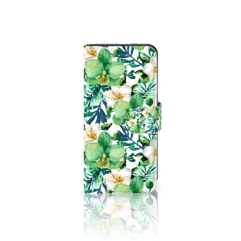 Samsung Galaxy S6 Edge Uniek Boekhoesje Orchidee Groen