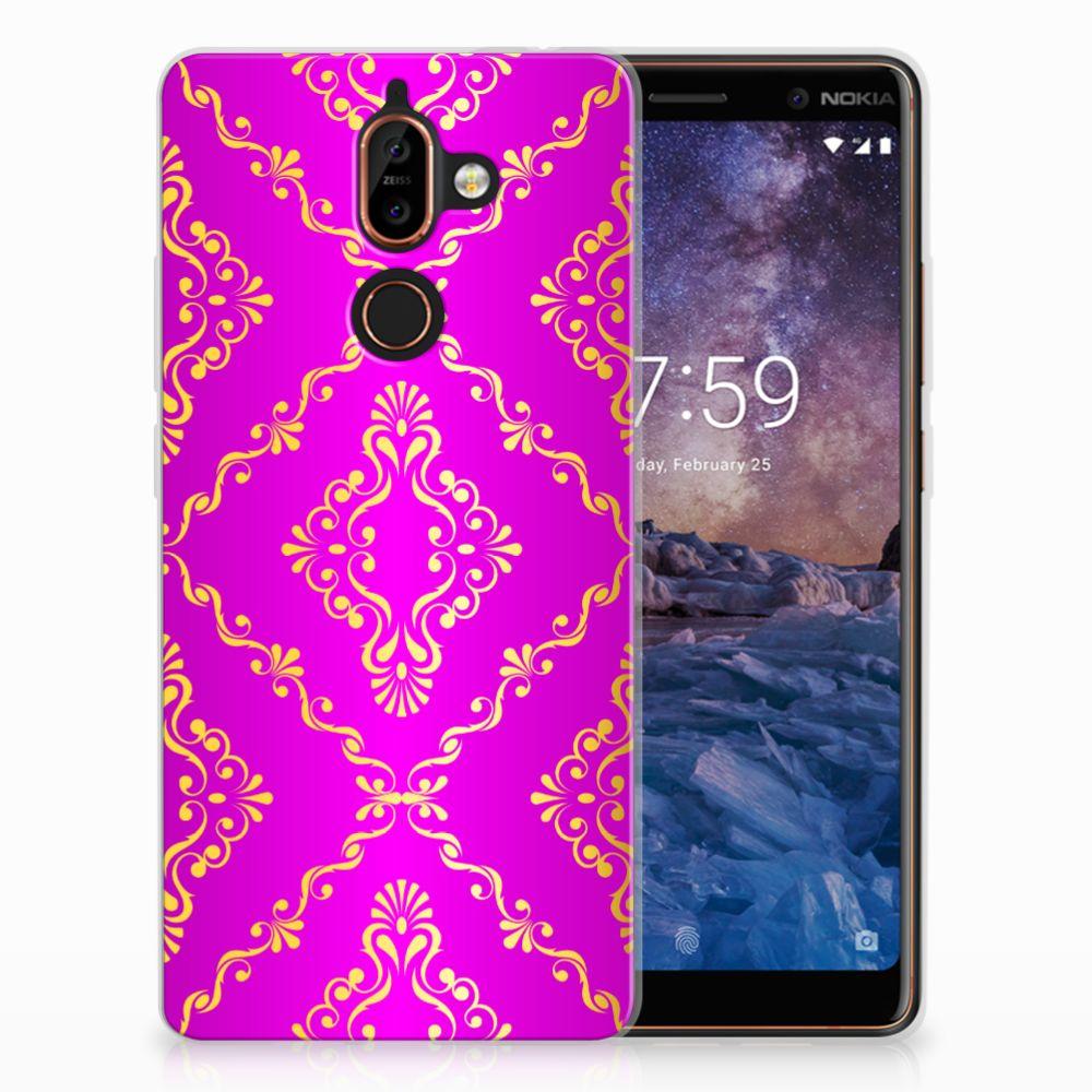 Siliconen Hoesje Nokia 7 Plus Barok Roze