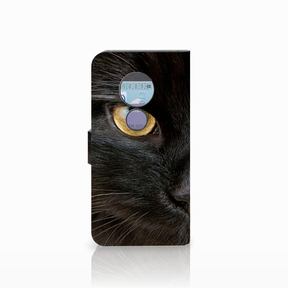 Motorola Moto G6 Play Telefoonhoesje met Pasjes Zwarte Kat