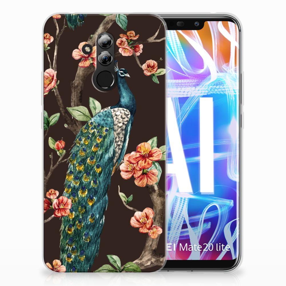 Huawei Mate 20 Lite Leuk Hoesje Pauw met Bloemen