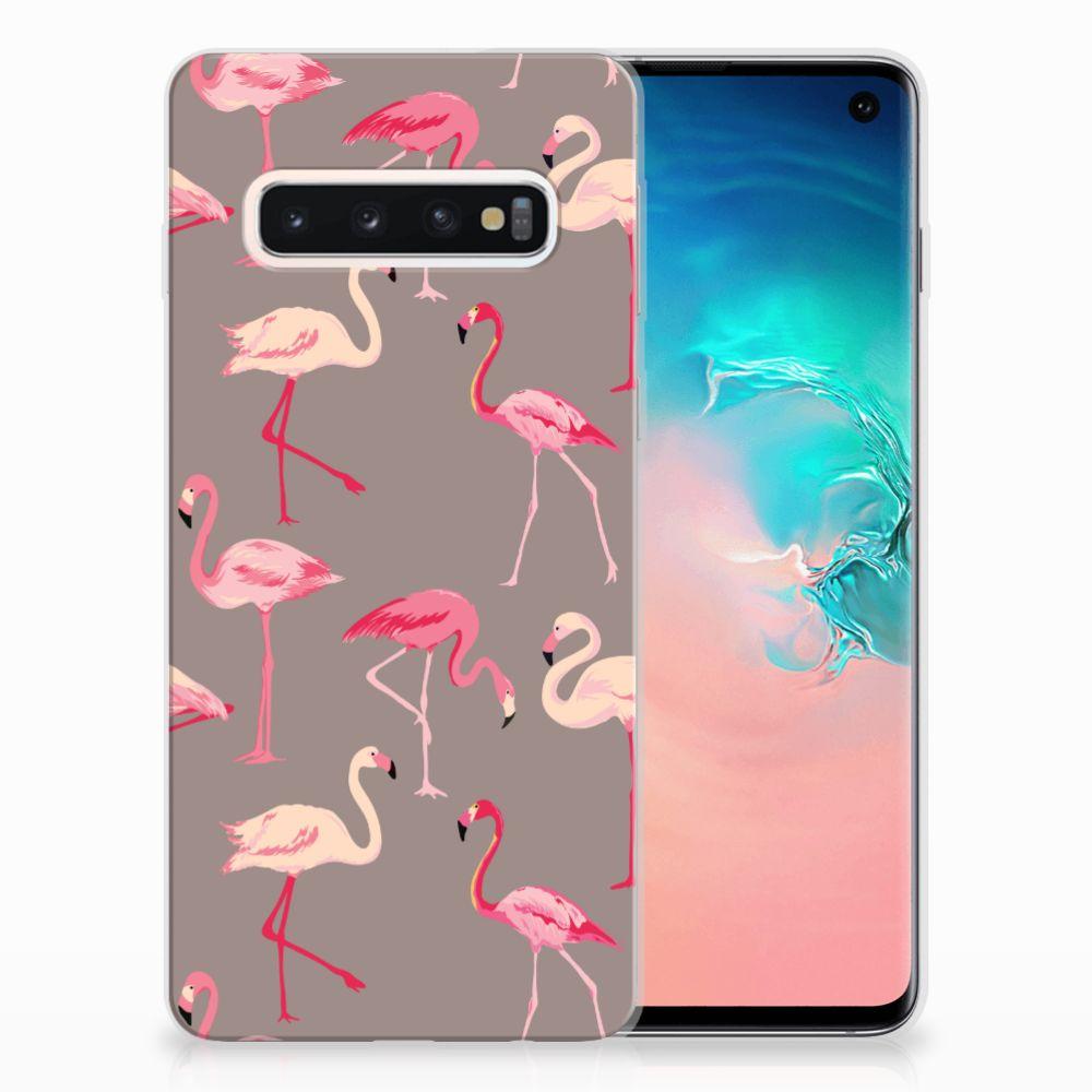 Samsung Galaxy S10 Uniek TPU Hoesje Flamingo