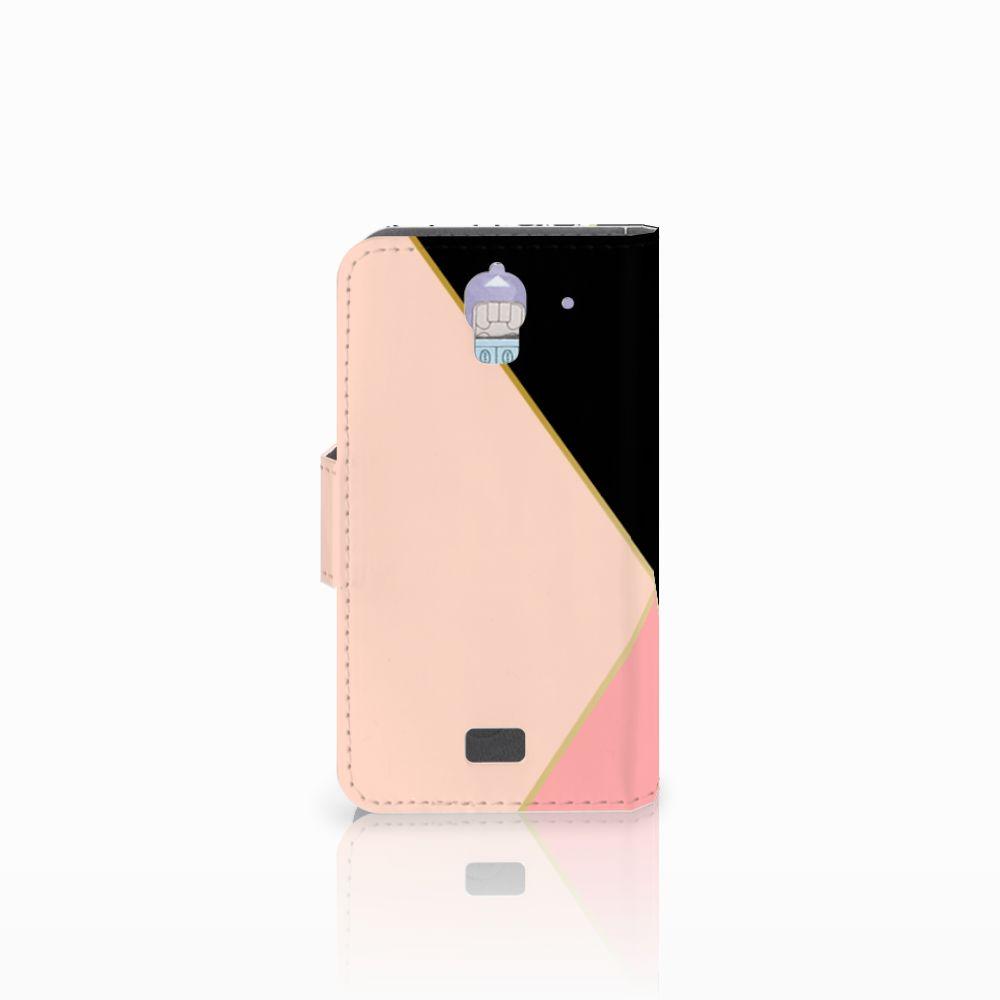 Huawei Y360 Bookcase Zwart Roze Vormen