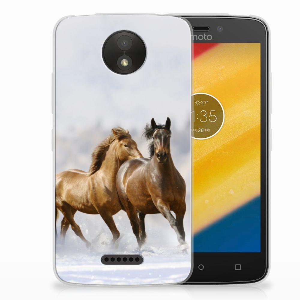 Motorola Moto C Plus Uniek TPU Hoesje Paarden