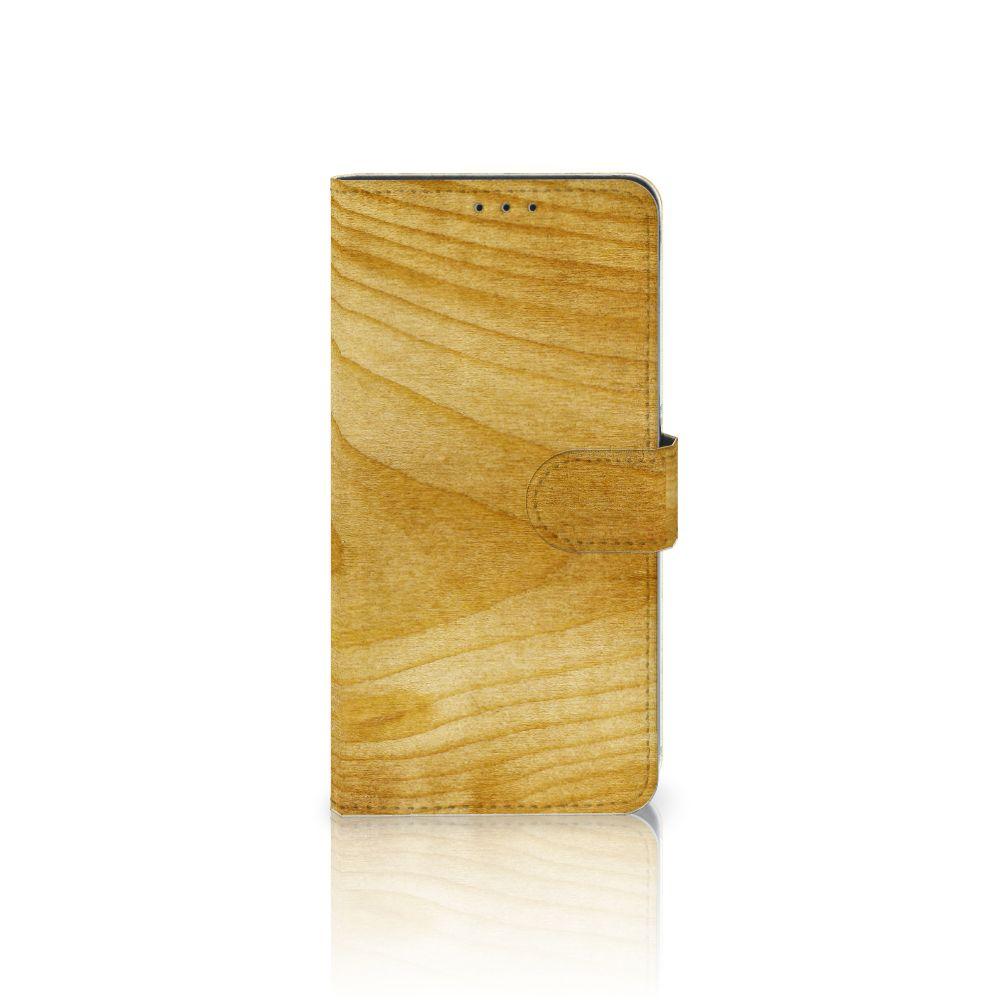 Samsung Galaxy A8 Plus (2018) Uniek Boekhoesje Licht Hout