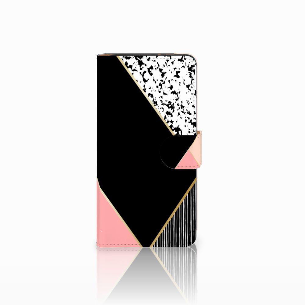 Wiko Lenny 3 Uniek Boekhoesje Black Pink Shapes