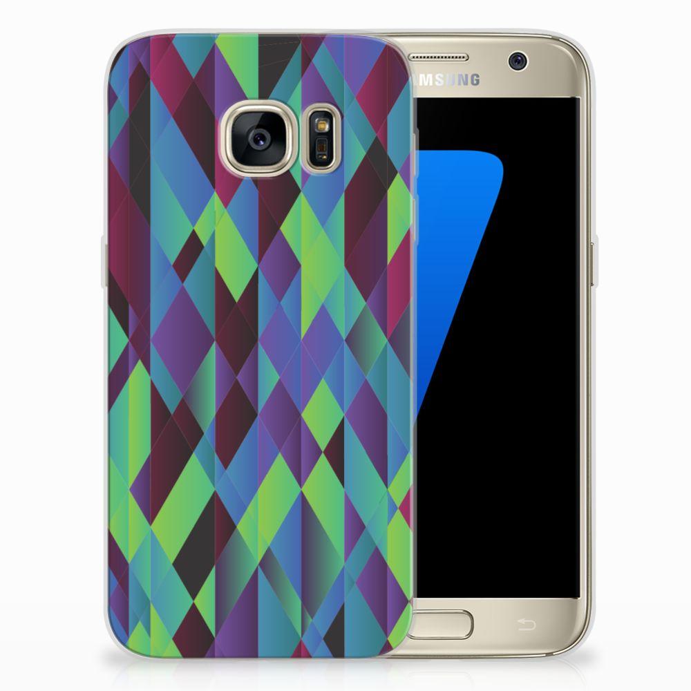 Samsung Galaxy S7 TPU Hoesje Abstract Green Blue