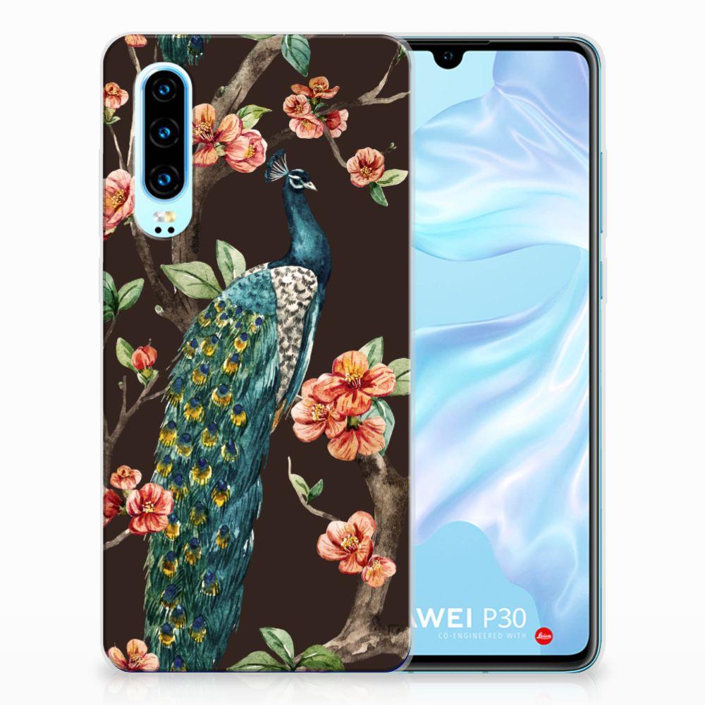 Huawei P30 TPU Hoesje Pauw met Bloemen