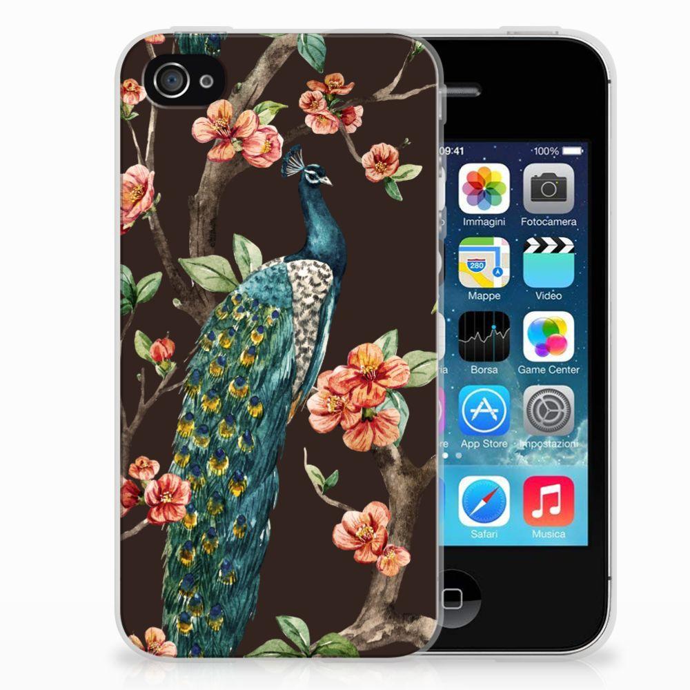 Apple iPhone 4 | 4s TPU Hoesje Pauw met Bloemen