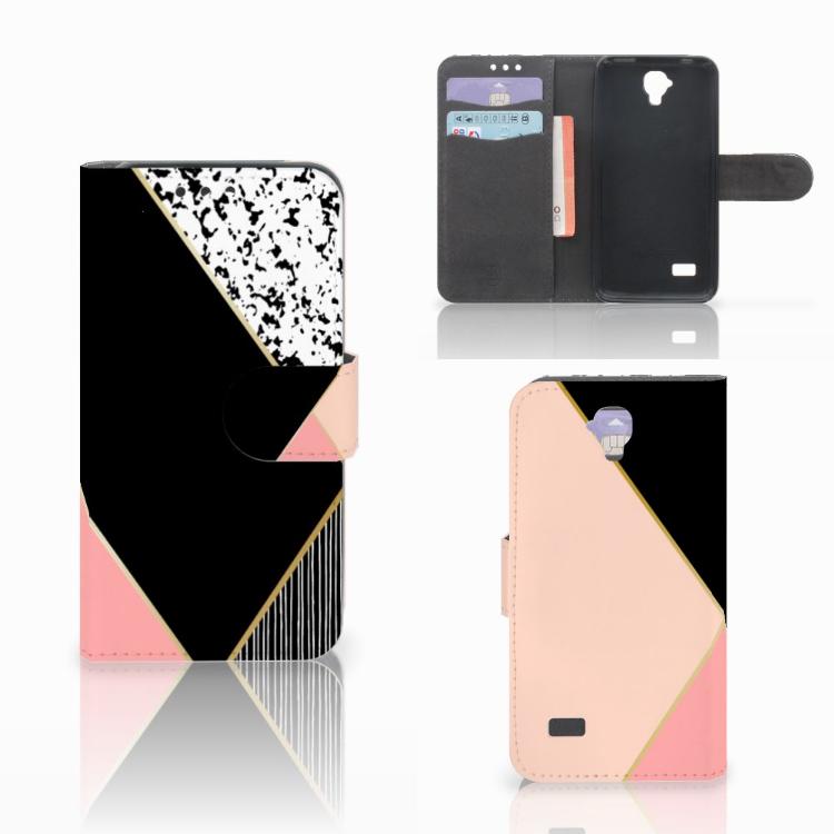 Huawei Y5 Y560 Bookcase Zwart Roze Vormen