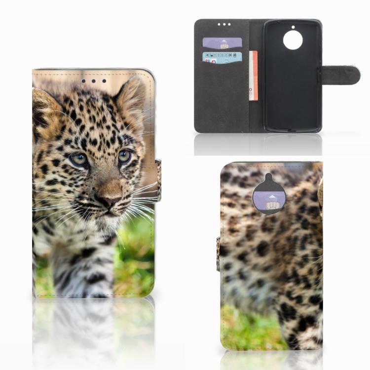 Motorola Moto E4 Plus Telefoonhoesje met Pasjes Baby Luipaard