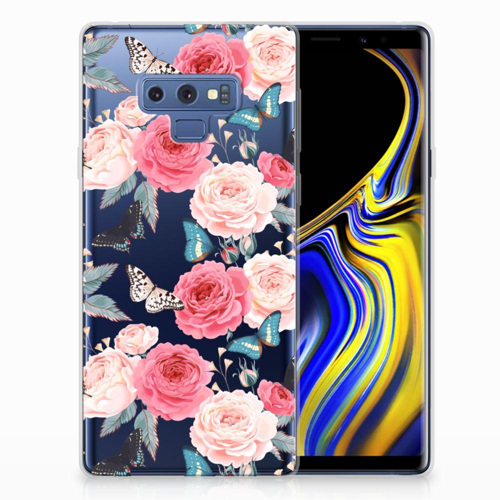 Samsung Galaxy Note 9 Uniek TPU Hoesje Butterfly Roses