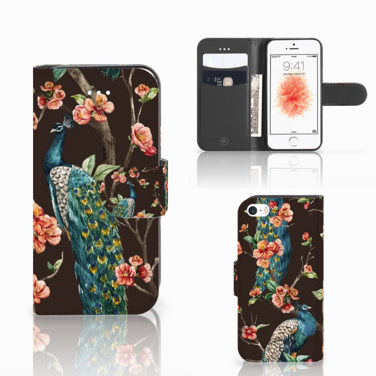 Apple iPhone 5 | 5s | SE Telefoonhoesje met Pasjes Pauw met Bloemen