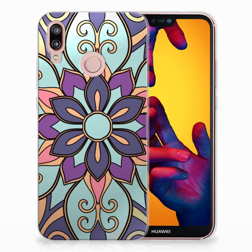 Huawei P20 Lite TPU Hoesje Design Purple Flower