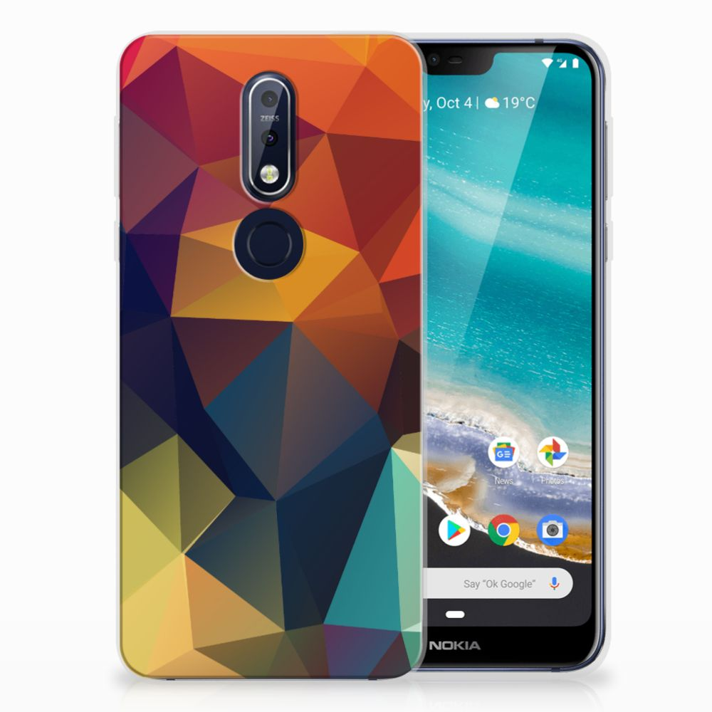 Nokia 7.1 TPU Hoesje Polygon Color