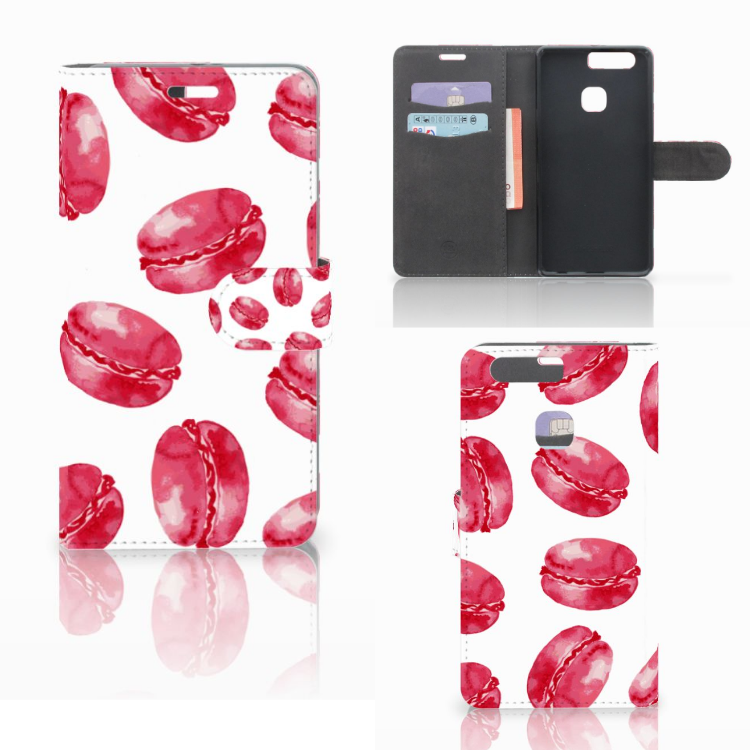 Huawei P9 Plus Book Cover Pink Macarons