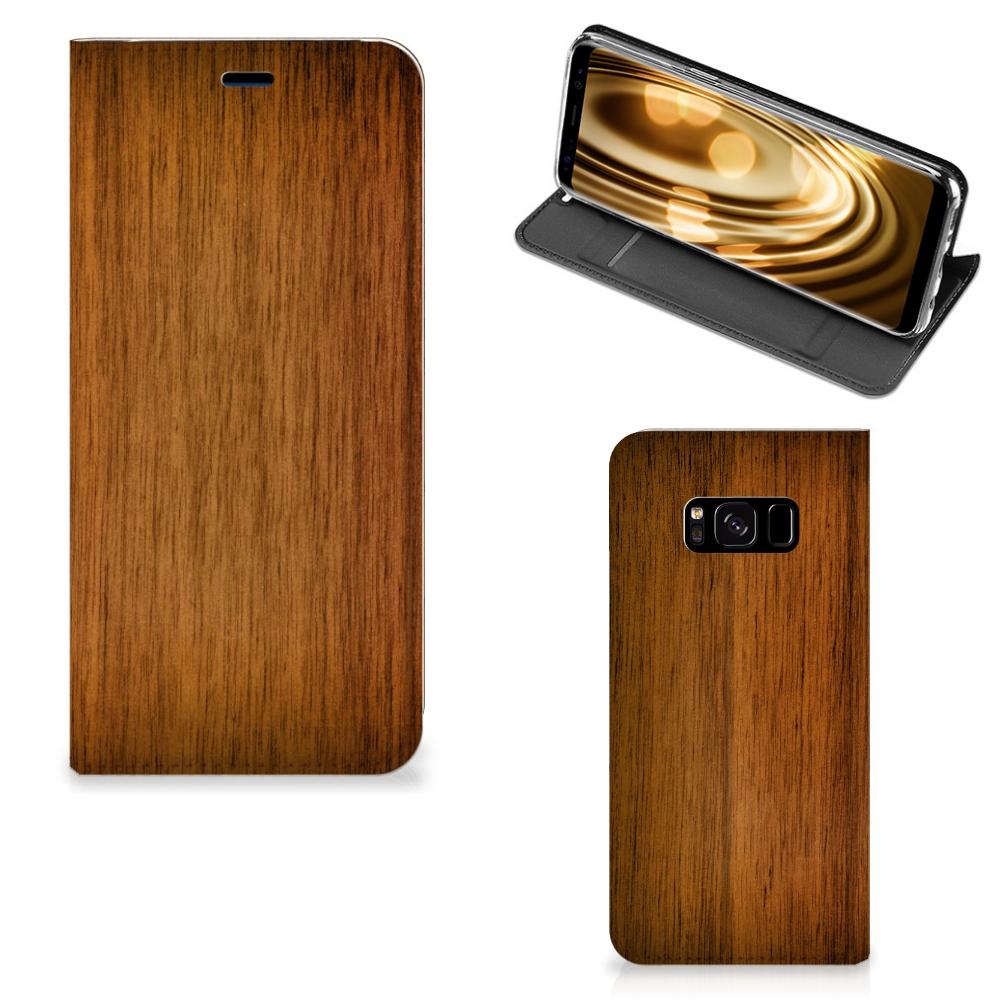 Samsung Galaxy S8 Uniek Standcase Hoesje Donker Hout