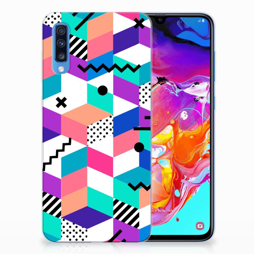 Samsung Galaxy A70 TPU Hoesje Blokken Kleurrijk