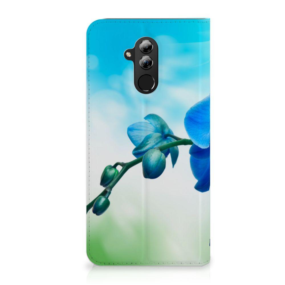 Huawei Mate 20 Lite Standcase Hoesje Design Orchidee Blauw