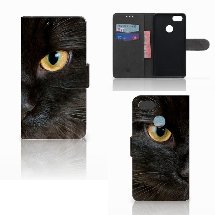 Huawei Y6 Pro 2017 Telefoonhoesje met Pasjes Zwarte Kat