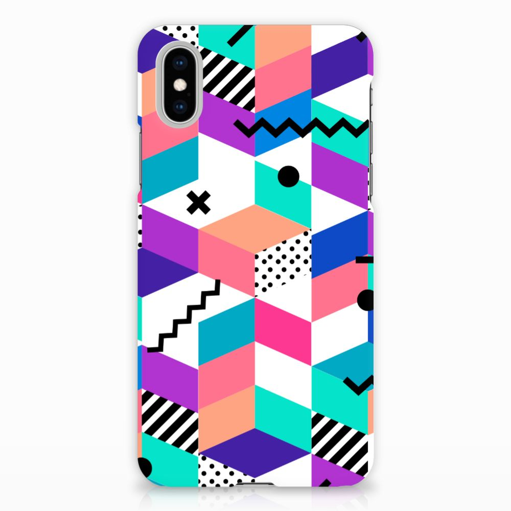 Apple iPhone X | Xs Hardcase Hoesje Design Blocks Colorful