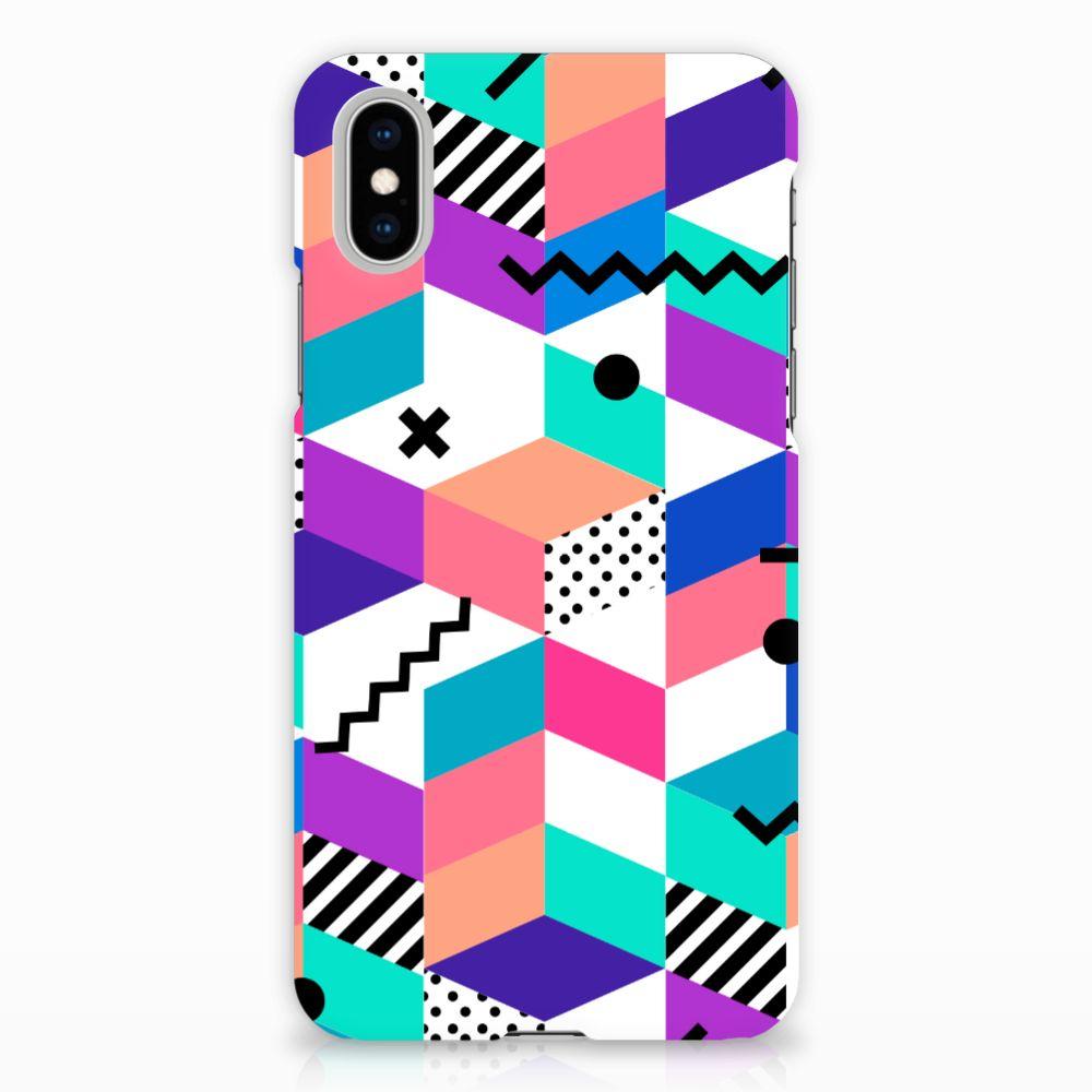 Apple iPhone X | Xs Hardcase Hoesje Design Blocks Colorful