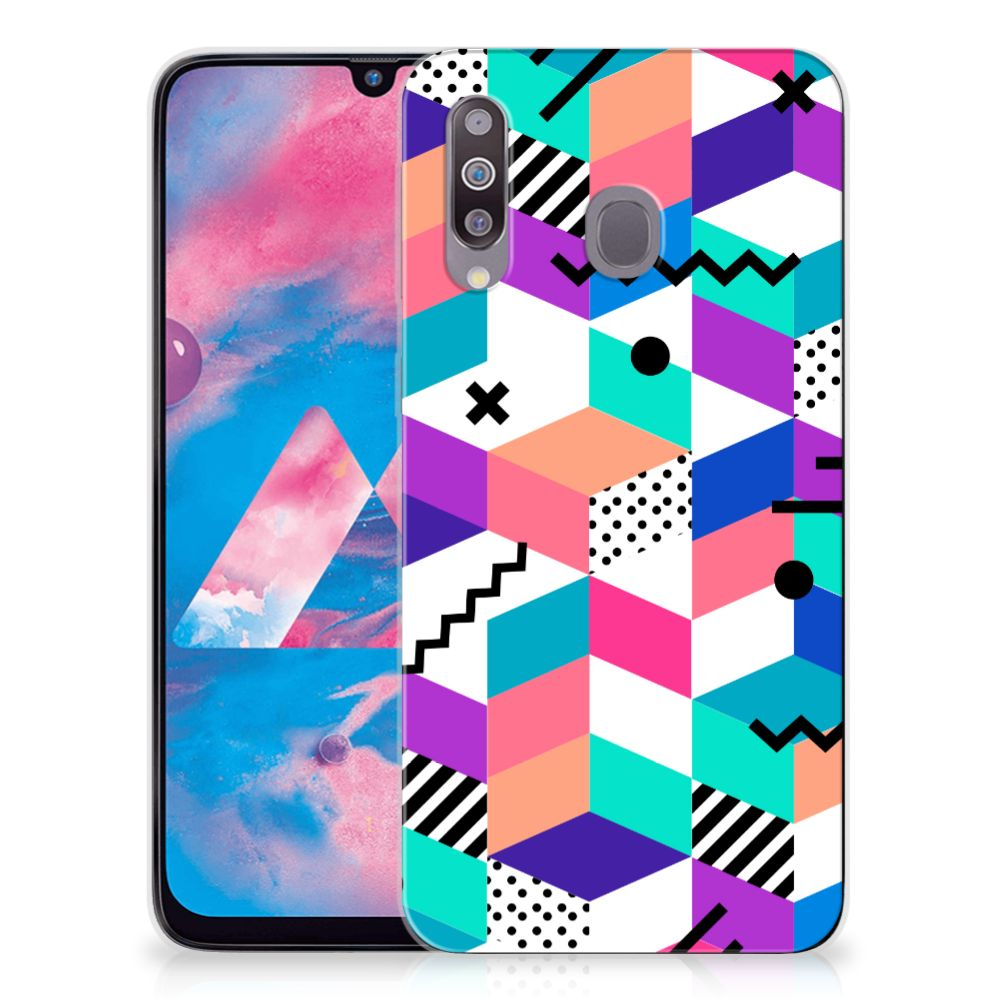 Samsung Galaxy M30 TPU Hoesje Blokken Kleurrijk
