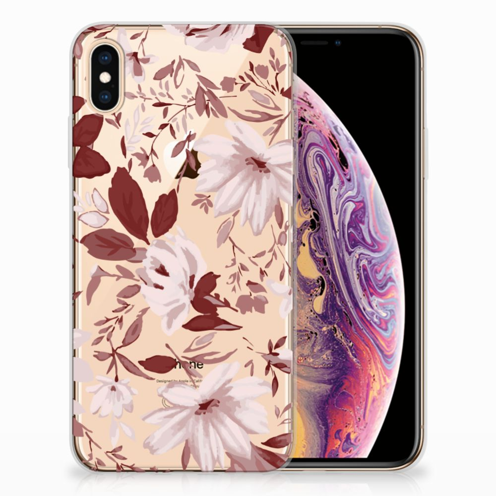 Apple iPhone Xs Max Uniek TPU Hoesje Watercolor Flowers