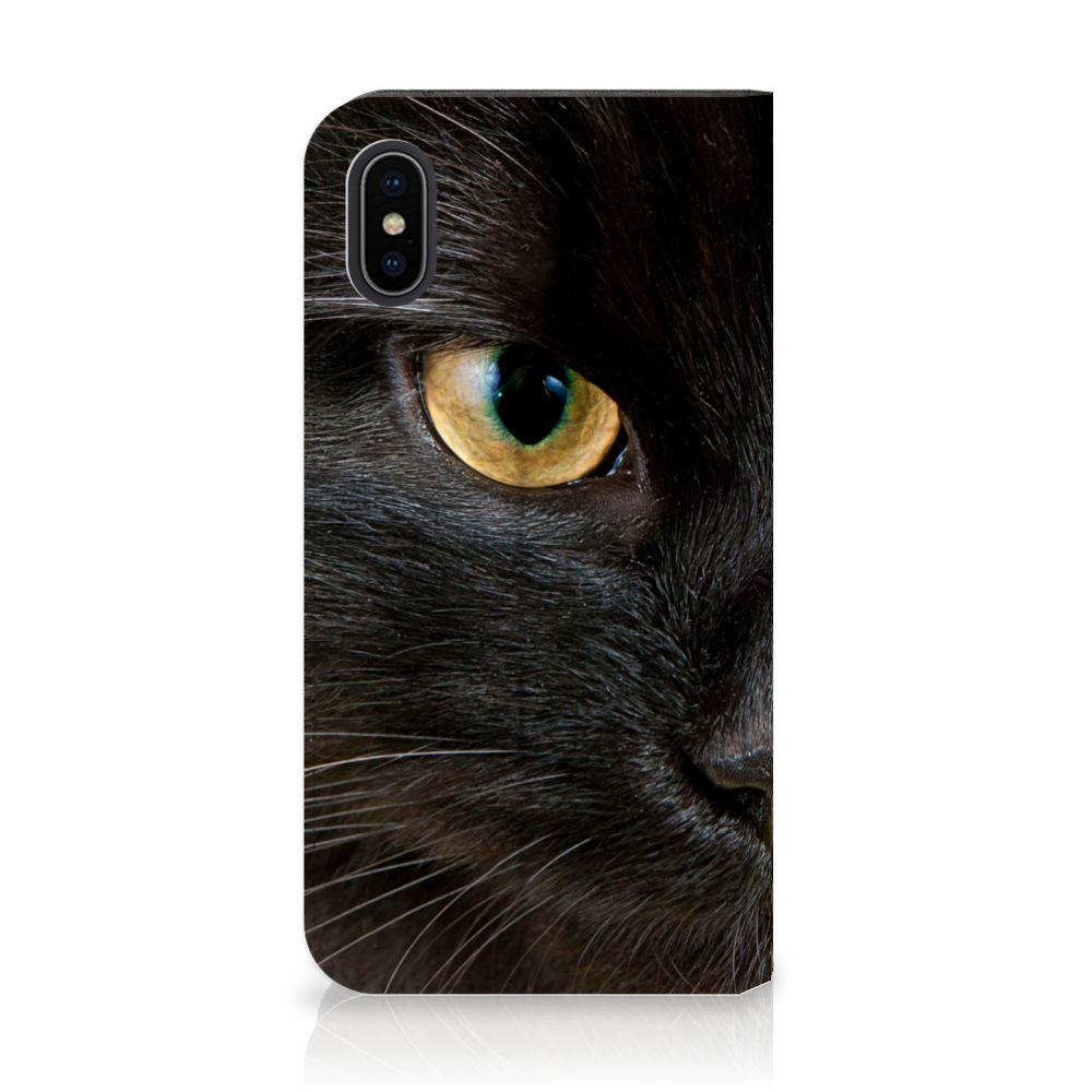 Apple iPhone X | Xs Uniek Standcase Hoesje Zwarte Kat
