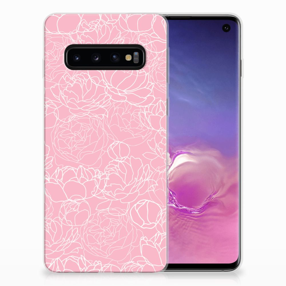 Samsung Galaxy S10 Siliconen Hoesje White Flowers