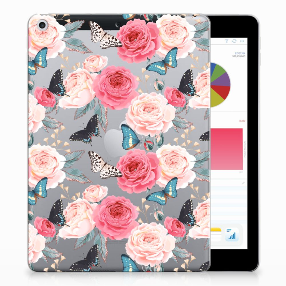 Apple iPad 9.7 2018 | 2017 Uniek Tablethoesje Butterfly Roses