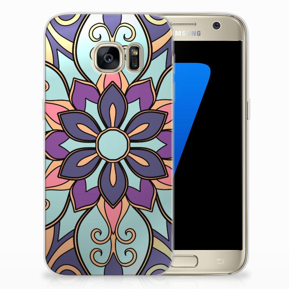 Samsung Galaxy S7 TPU Hoesje Design Purple Flower