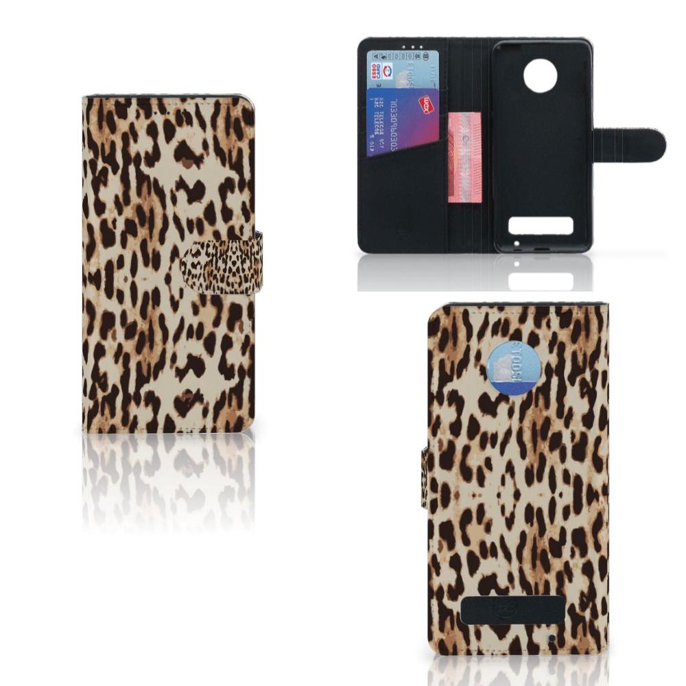 Motorola Moto Z Play Telefoonhoesje met Pasjes Leopard