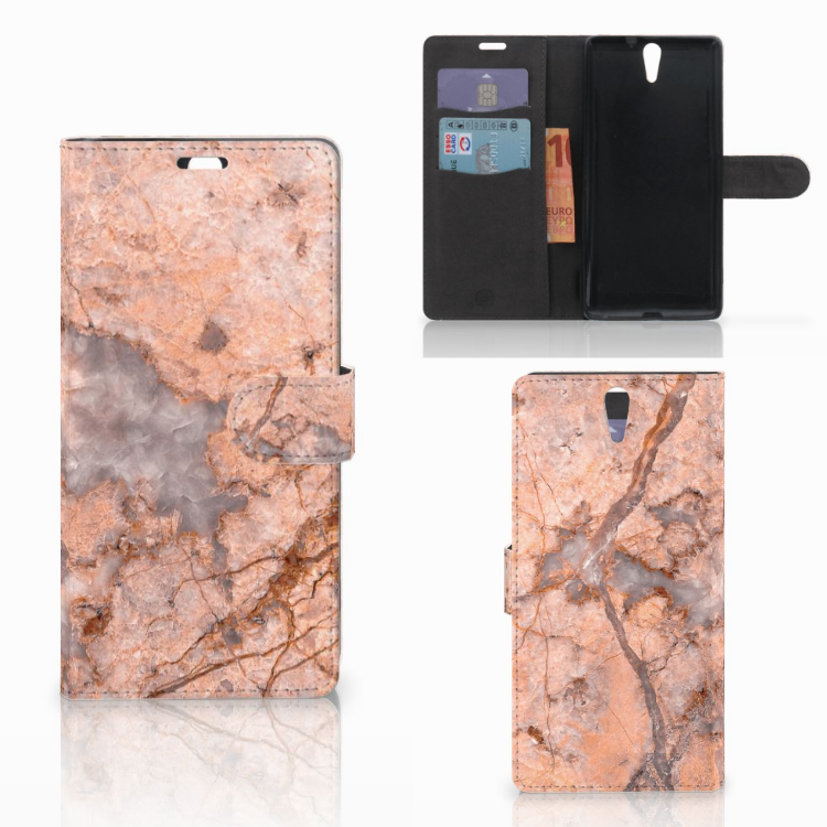 Sony Xperia C5 Ultra Bookcase Marmer Oranje