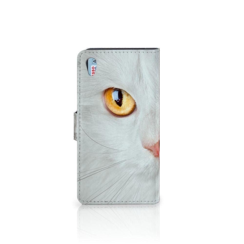 Sony Xperia Z2 Telefoonhoesje met Pasjes Witte Kat