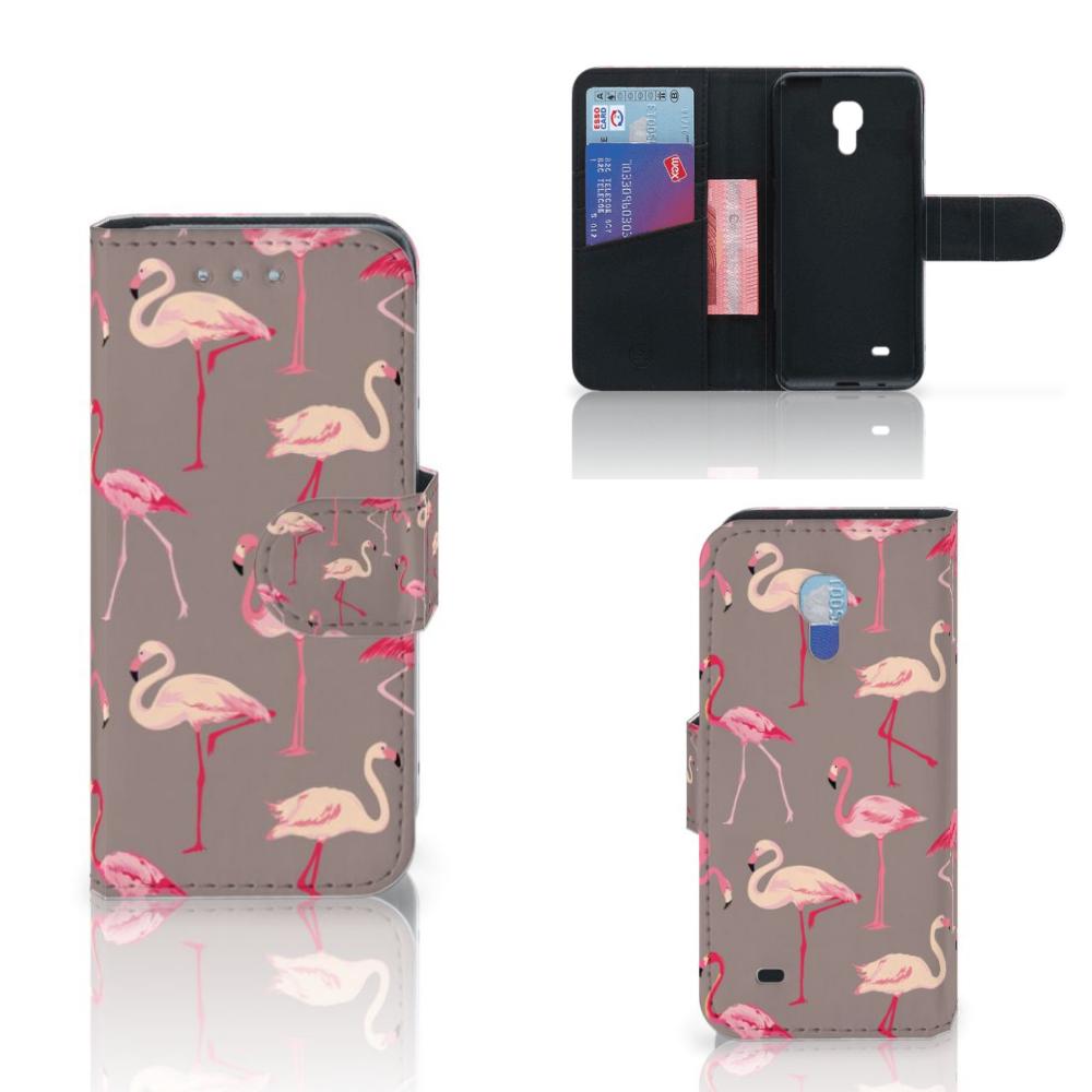 Samsung Galaxy S4 Mini i9190 Telefoonhoesje met Pasjes Flamingo
