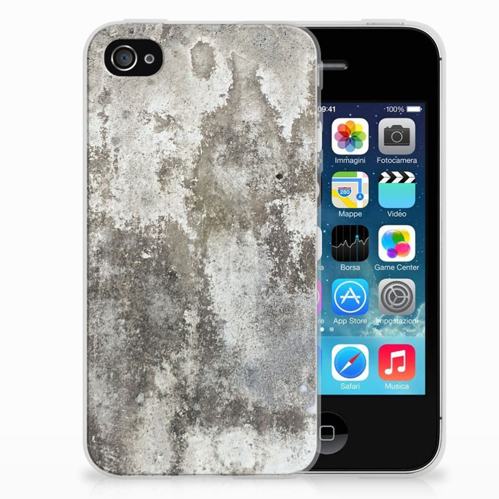 Apple iPhone 4   4s TPU Siliconen Hoesje Beton Print