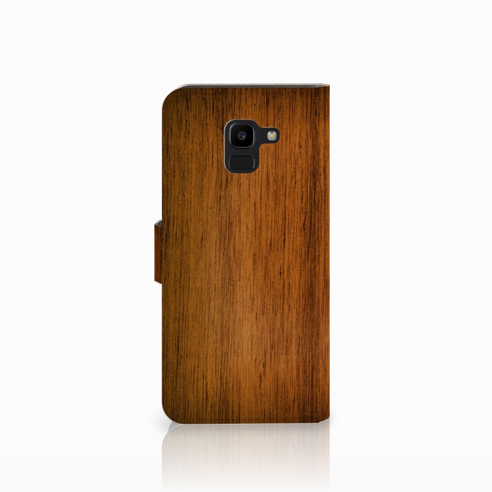 Samsung Galaxy J6 2018 Book Style Case Donker Hout
