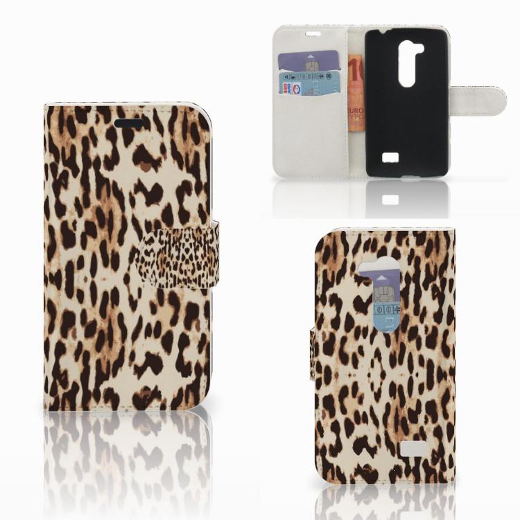 LG L Fino Telefoonhoesje met Pasjes Leopard