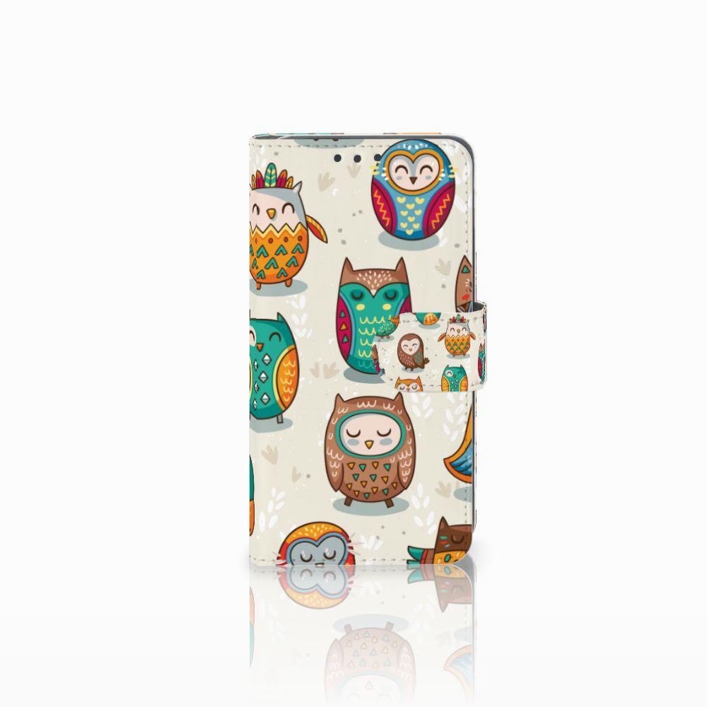 Huawei Y5 2 | Y6 II Compact Telefoonhoesje met Pasjes Vrolijke Uilen