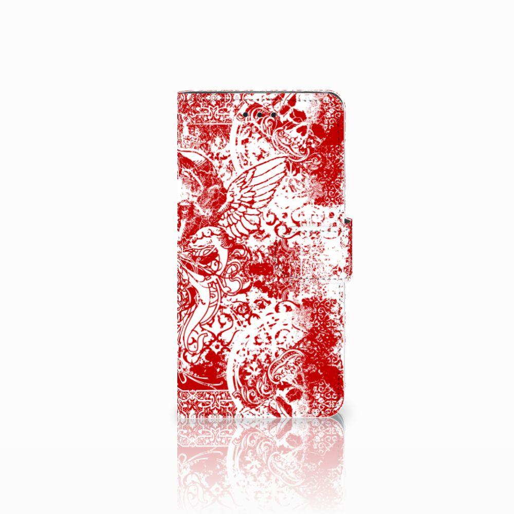 Huawei Y5 2018 Boekhoesje Design Angel Skull Red