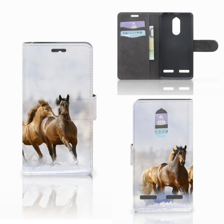 Lenovo K6 Telefoonhoesje met Pasjes Paarden