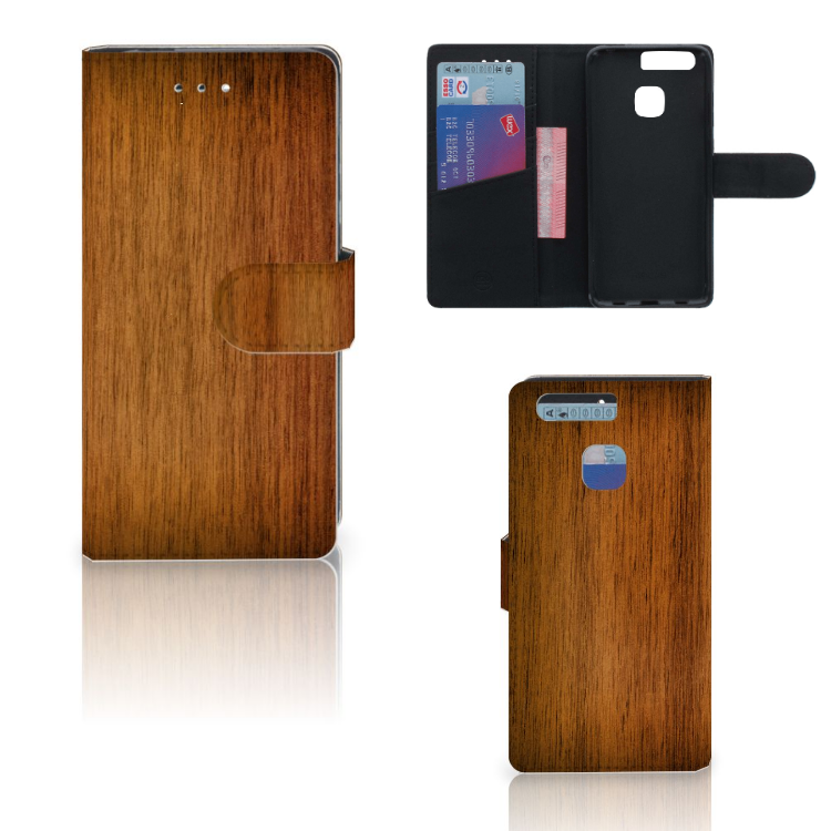 Huawei P9 Book Style Case Donker Hout